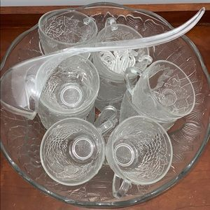 Glass punch bowl or bowl and cups